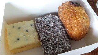 Rhubarb Bakes - Vanilla Slice, Lamington, Chocolate Cream Filled Doughnut
