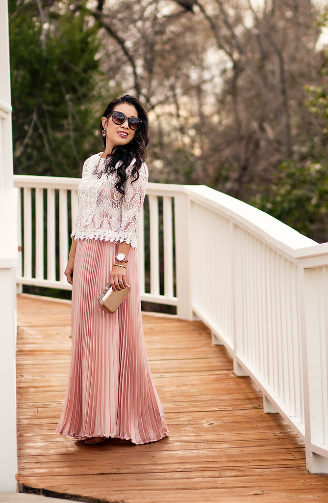 cute & little blog | petite fashion | lace crop top, pink pleated maxi skirt, gold minaudiere clutch | spring pink rose quartz outfit