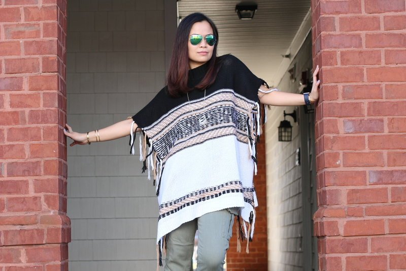 shein poncho, mirrored sunglasses