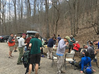 Trail Magic at Unicoi Gap from Miss Janet and friends