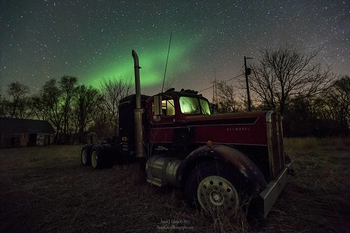 """Optimus Borealis"" by Aaron J. Groen @HomeGroenPhotography   2016 Re-Processed single exposure shot Taken 3/20/2015 5:07am Canon EOS 6D and EF 16-35mmf/2.8L II usm lens at 20 seconds f/3.2 6400iso 16mm Northern Lights over an abandoned semi truck in easte"