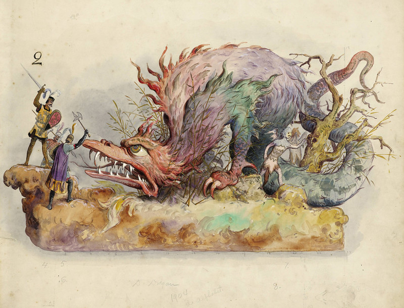 Bror Anders Wikstrom - Dragon, float design from Krewe of Proteus, 1904