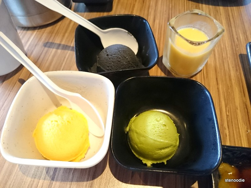 Ice cream (mango, green tea, black sesame) and Mango Pudding