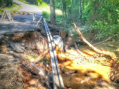 Washout on a county road in the Shiloh community, just west of Longview city limits.