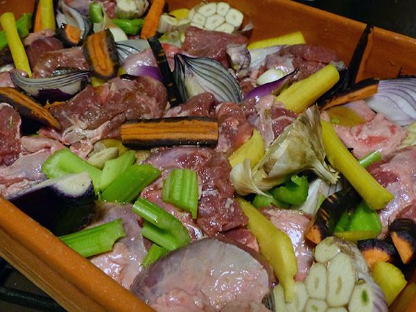 joue de porc et légumes