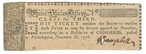 1776 United States Lottry ticket