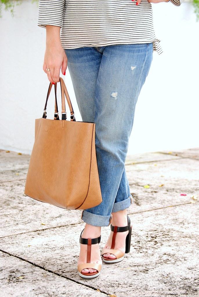 reversible bag and colorblock heel