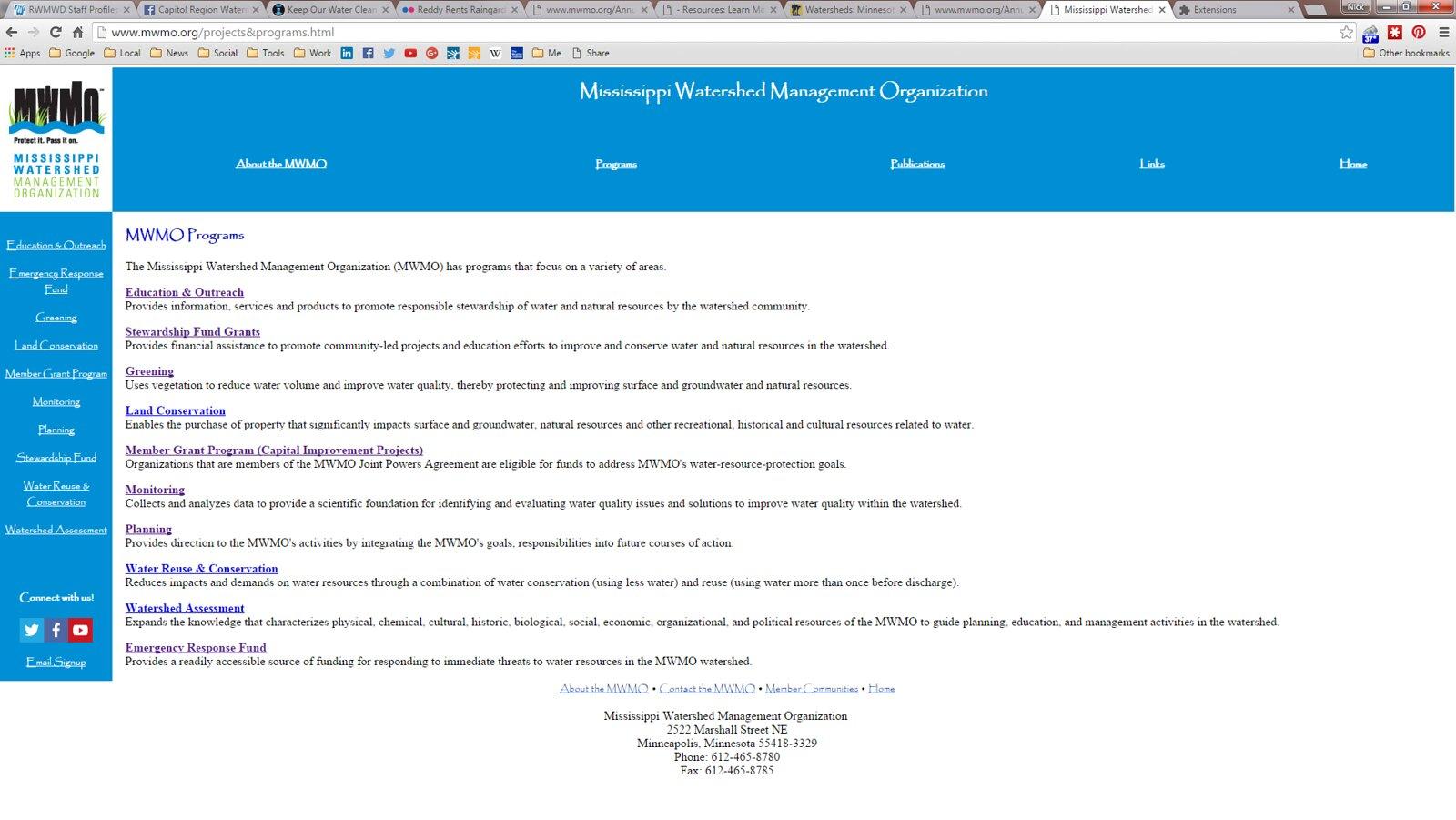 """MWMO Website - """"Before"""""""