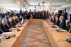 U.S. Secretary of State John Kerry listens to Russian Foreign Minister Sergey Lavrov answer a reporter's question on February 11, 2016, before a bilateral meeting focused on Syria preceding the Munich Security Conference. [State Department photo/Public Domain]