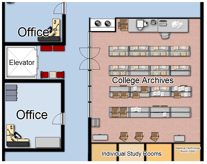 Map to College Archives: If you use the elevator located in the library, the archives are located on the third floor straight across from the elevator.
