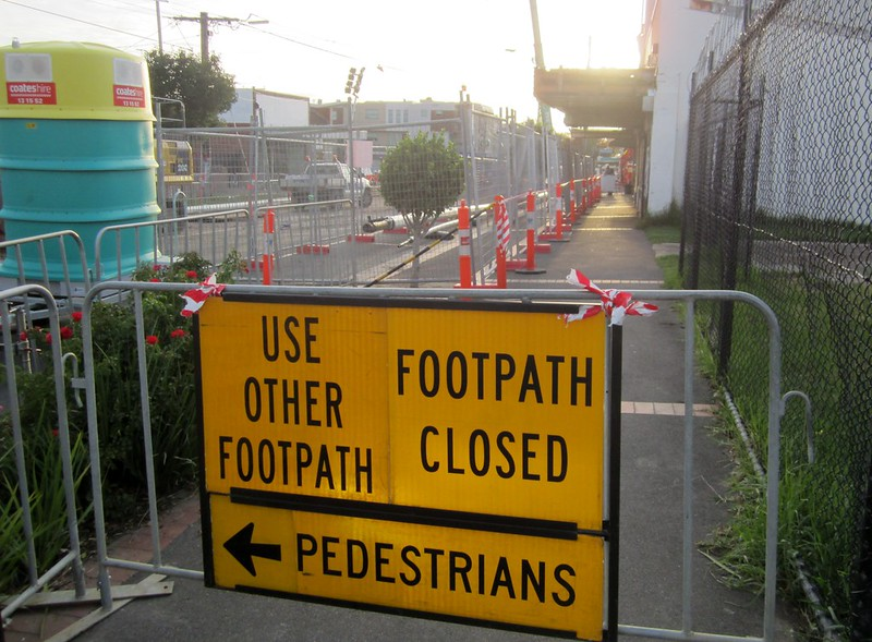 Footpath closure during level crossing removal works at Mckinnon
