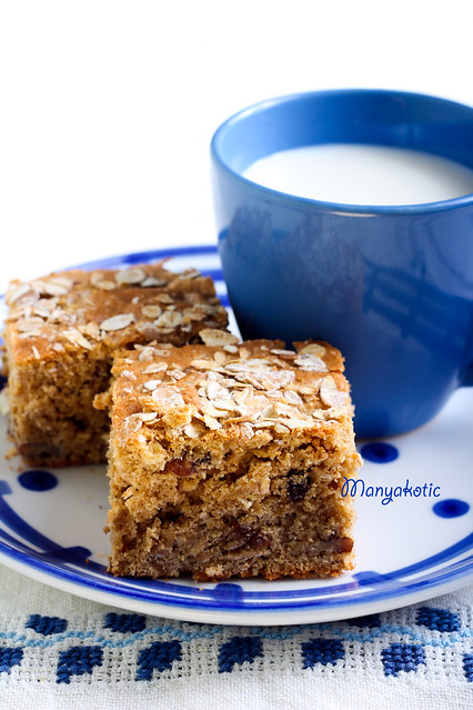 Oatmeal bars with raisin and nuts