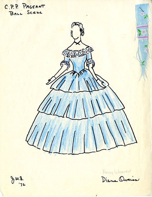 Confederate Ball scene dress design for 1972 Waco Cotton Palace Pageant