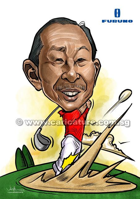 golfer digital caricature (watermarked)