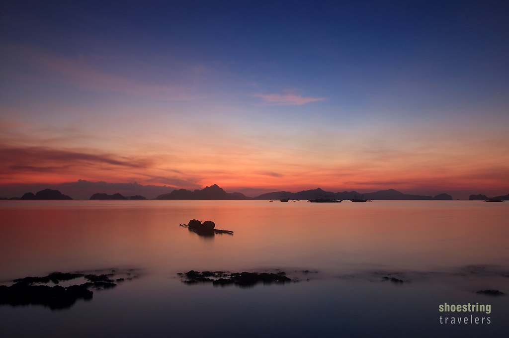 sunset at Bacuit Bay viewed from Corong Corong Beach