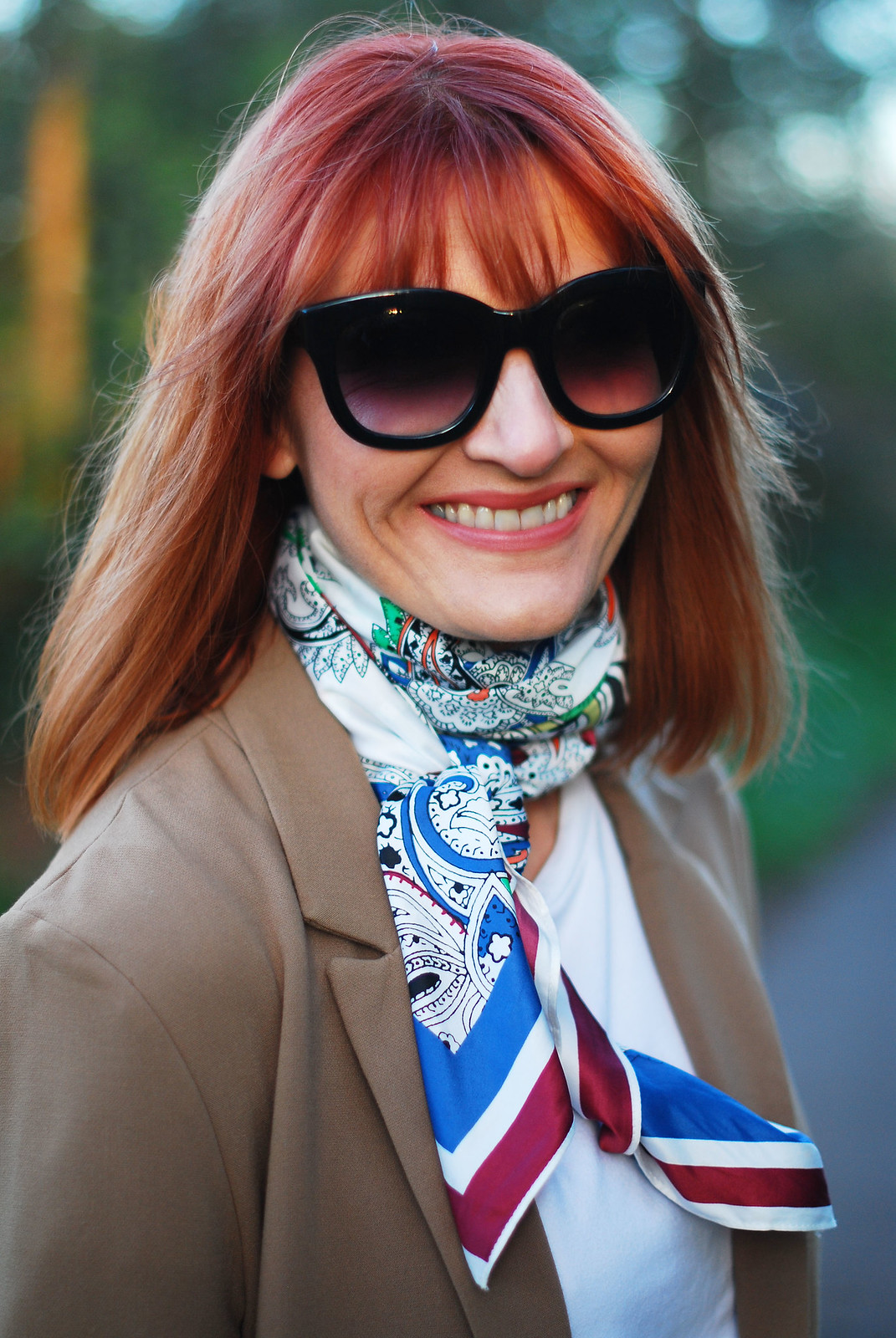 SS16 Smart style: Camel blazer, neck scarf, cat eye sunglasses | Not Dressed As Lamb