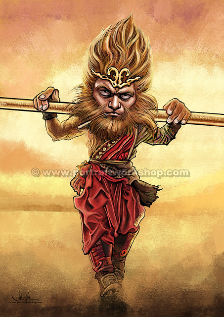 齊天大聖孫悟空Monkey God comic digital illustration(watermarked)