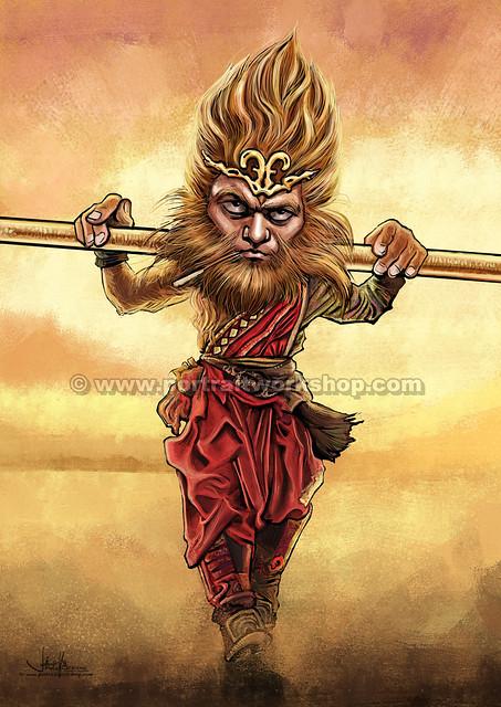 齊天大聖孫悟空Monkey God comic digital illustration(watermarked)