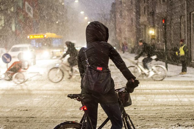 My morning commute this morning in the snow. #VikingBiking #copenhagen