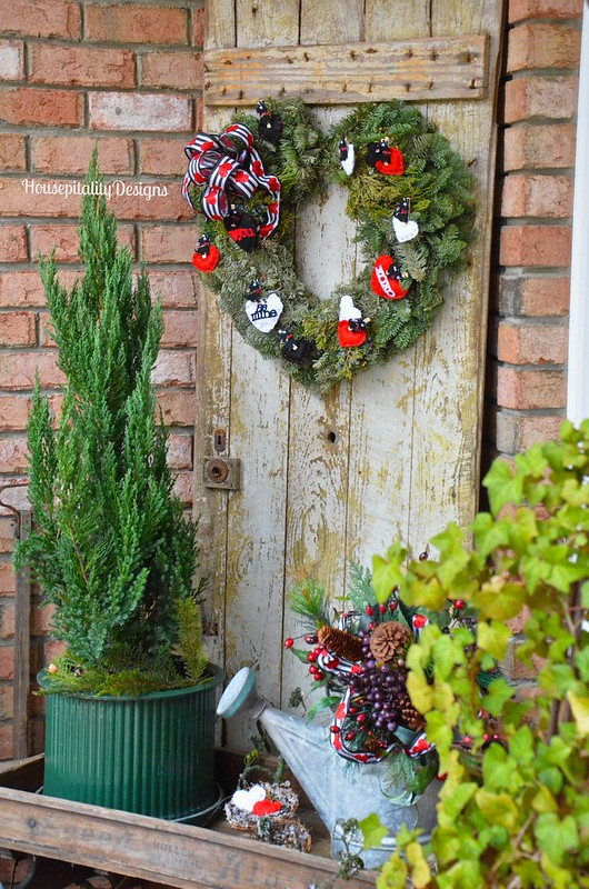 Valentine's Day Wreath on Vintage Weathered Door - Housepitality Designs