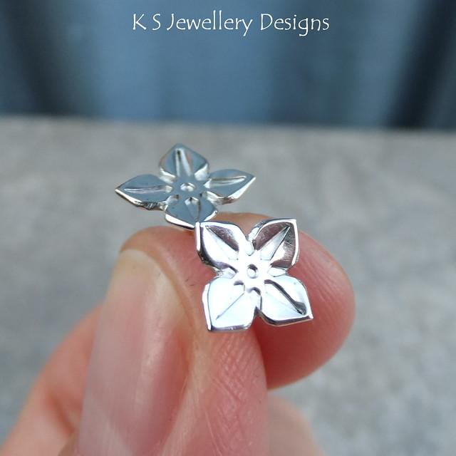 Four Petal Flower Sterling Silver Studs - version 2