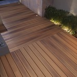 DuraLife Siesta decking in Golden Teak (night shot)