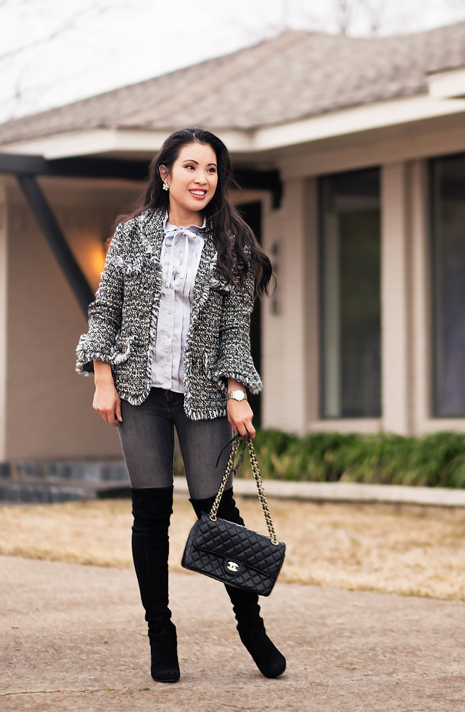 cute & little blog | petite fashion | silver fringe tweed jacket, serenity blue bow tuxedo blouse, gray jeans, stuart weitzman black highland boots | winter outfit