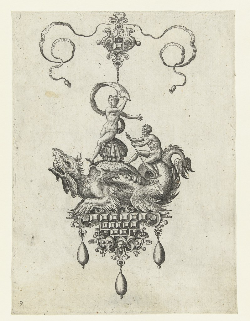 Dragon pendant with a double shell on its back (version 2) - Adriaen Collaert and Hans Collaert (I) attributed as printmakers, published by Philips Galle, 1582