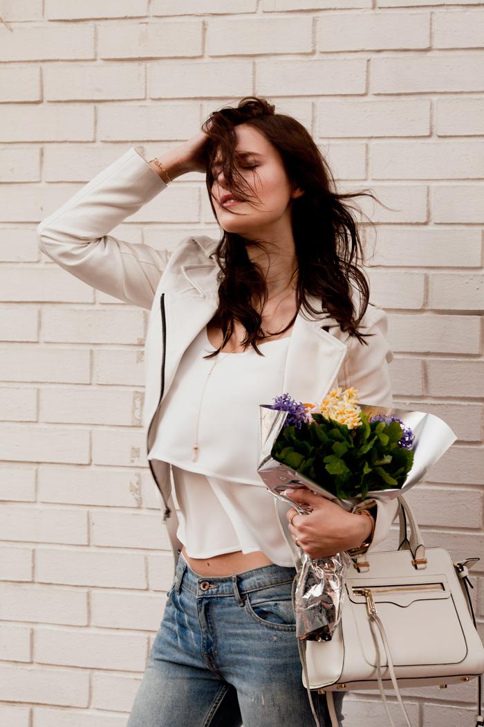 white jacket over a white silk top, crepe de chine