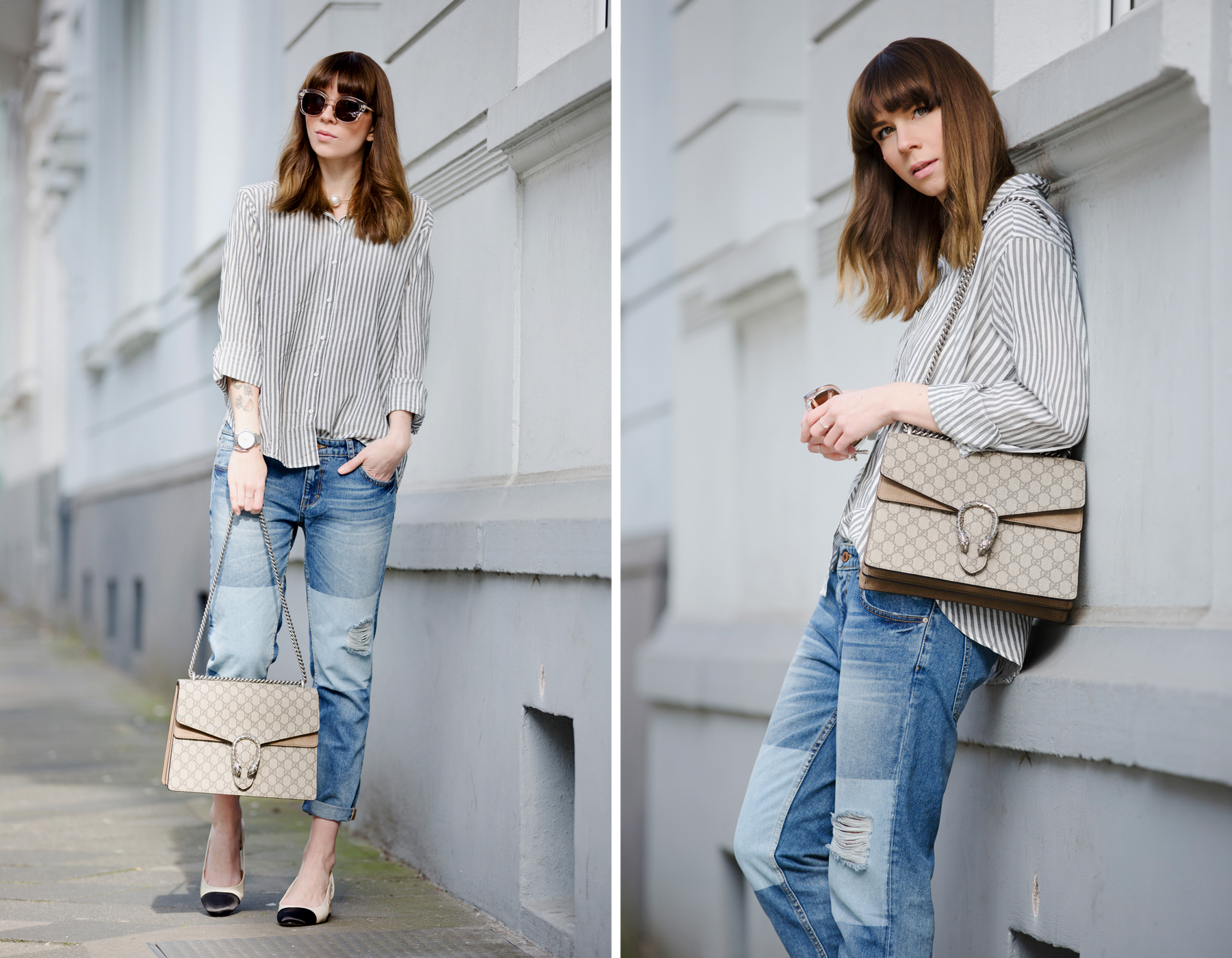 francaise striped shirt parisienne style bangs brunette jeans chanel lookalike heine pumps chic luxury gucci dionysus bag sun spring outfit ootd look le specs fashionblogger ricarda schernus cats & dogs blog 6