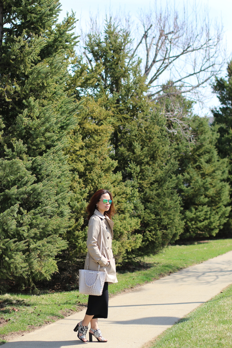 easter outfit, trench coat, black culottes, brahmin bag