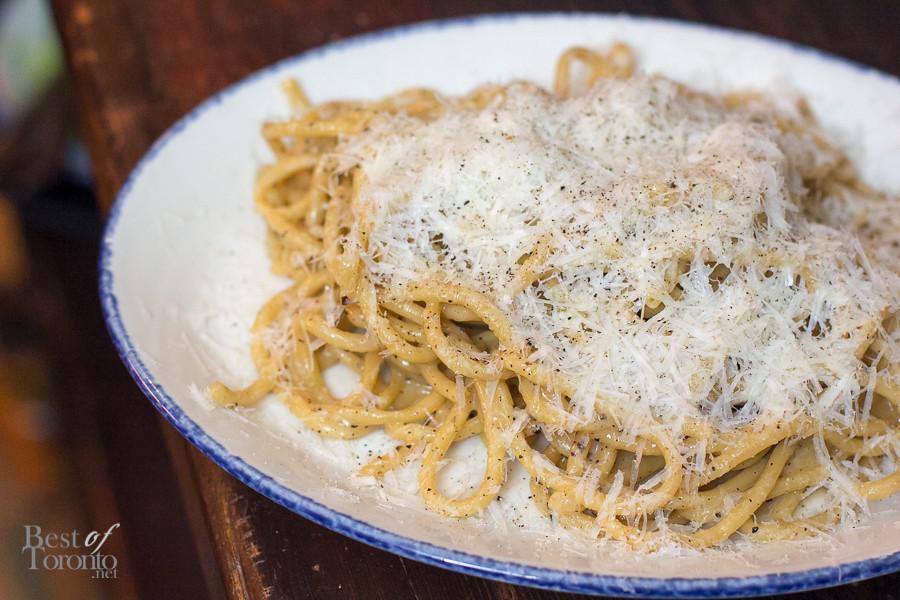 The beauty in the craft of handmade pasta. Tonnarelli Cacio e Pepe - black pepper, pecorino stagionato -  delightfully simple and generous use of pepper