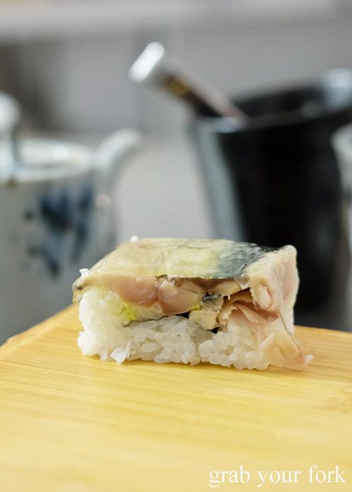 Saba mackerel bou-sushi at Sashimi Shinsengumi, Crows Nest