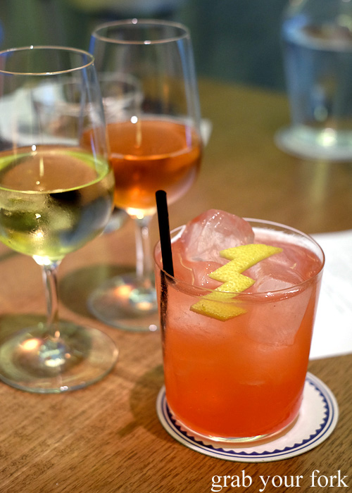 Rita & Rudolph Trossen trocken riesling, Brian pinot gris and rasberry and yuzu soda at Bar Brose, Darlinghurst