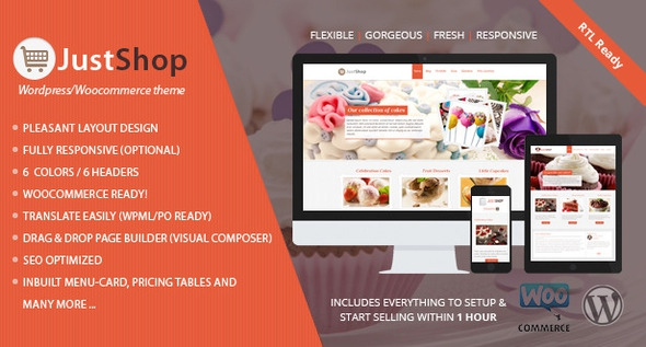 Justshop v7.6 - Cake Bakery WordPress Theme