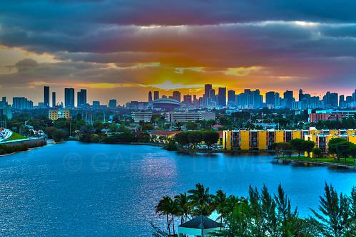 city usa skyline america skyscraper sunrise dawn downtown cityscape unitedstates florida miami lagoon fl hdr