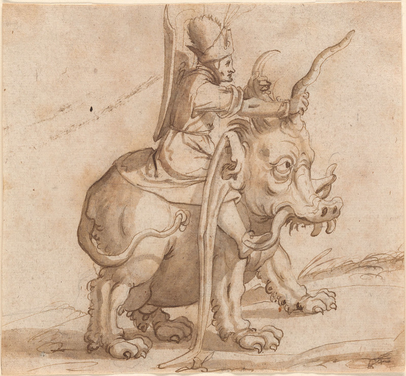 Arent van Bolten - Man Astride a Fantastic Animal, 1580-1610