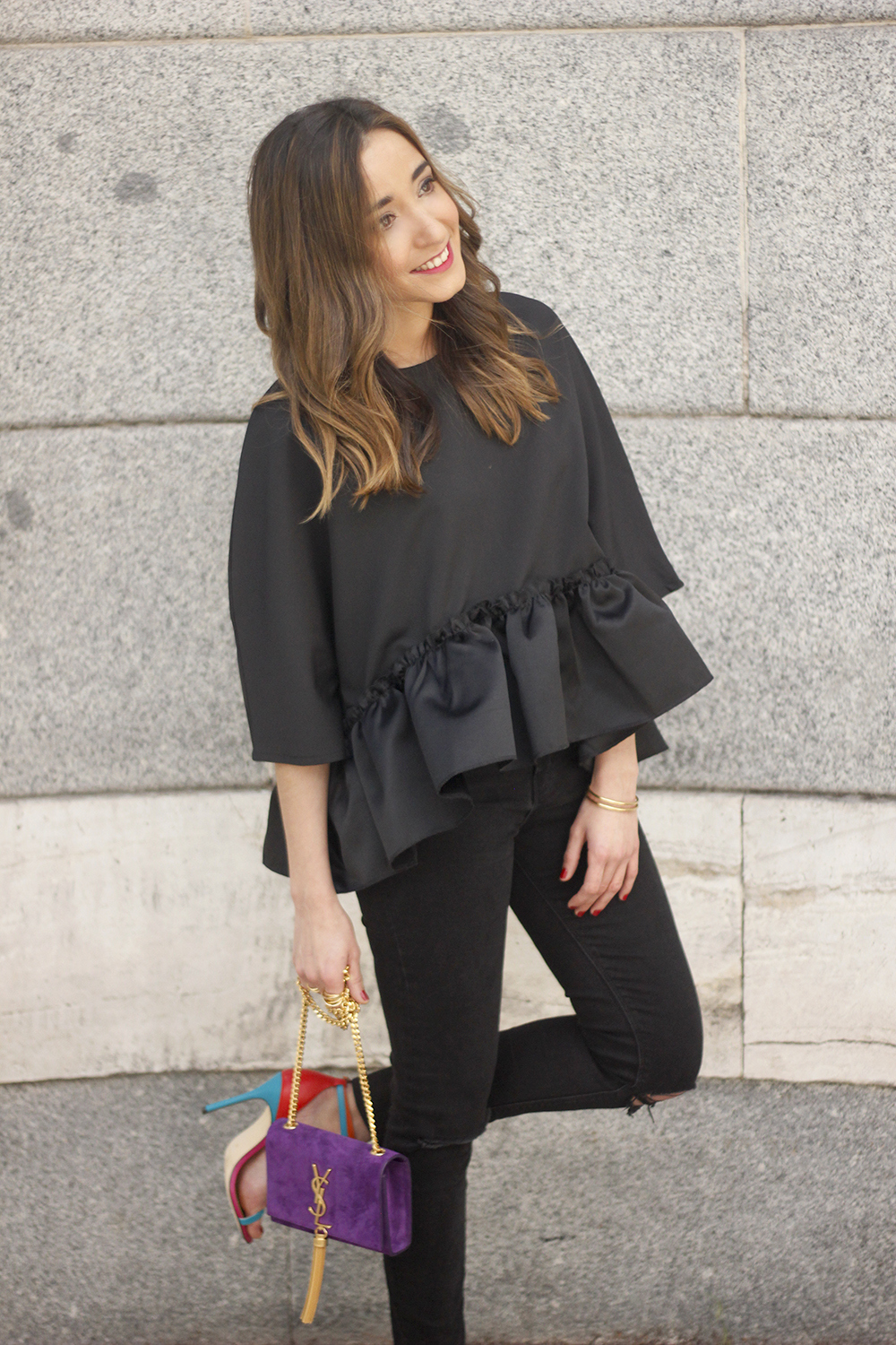 black top with a ruffle Carolina Herrera Sandals YSL bag accessories outfit style24