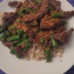 Asparagus ginger beef with fresh tasted sesame seeds