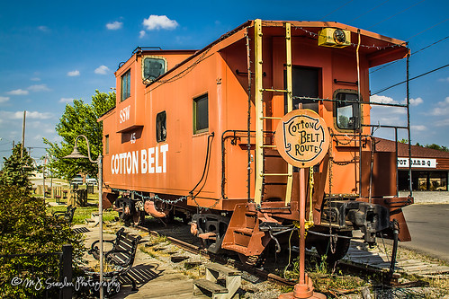 railroad train display parking lot caboose static