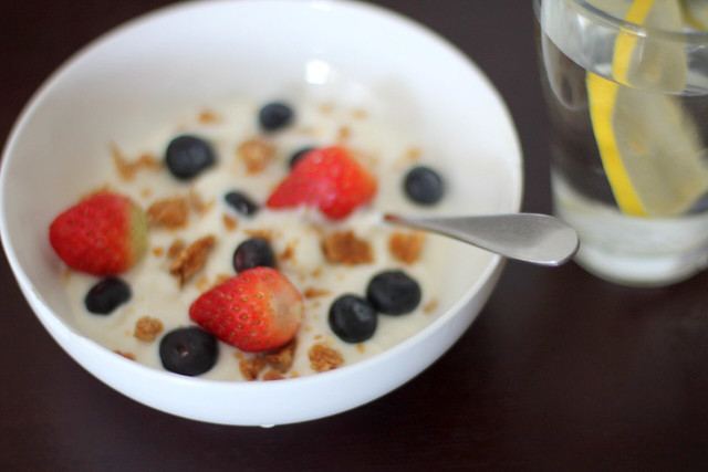 Fruit Yogurt and lemon water