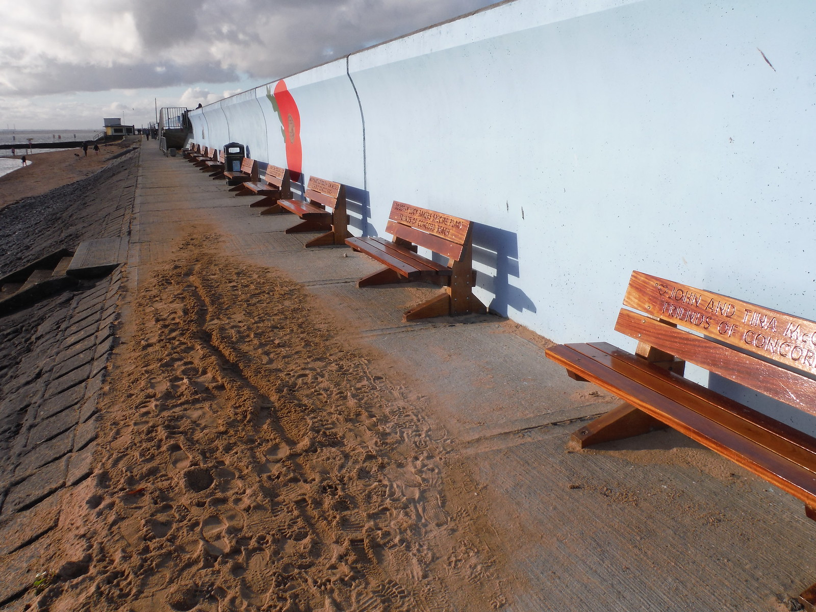 Benches on Concord Beach, Canvey Island SWC Walk 258 Benfleet Circular (via Canvey Island)