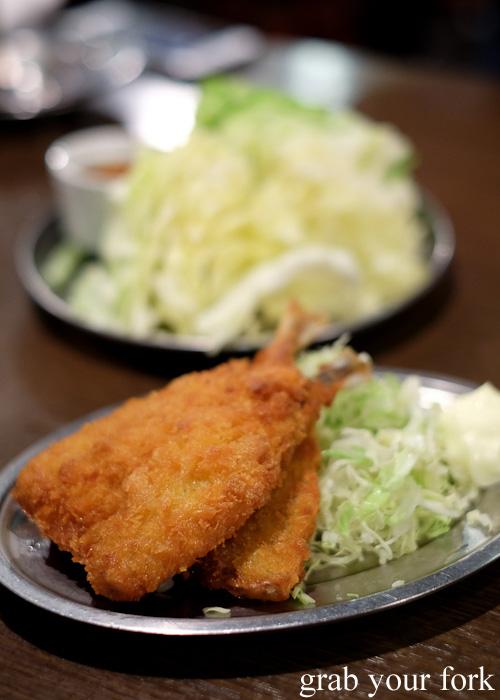 Aji fried horse mackerel at Yakiton in Shinjuku, Tokyo
