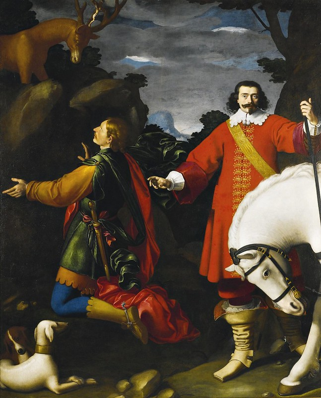 Carlo Ceresa - The vision of Saint Eustace, with a portrait of the donor beside his horse