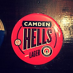 Drinking a Camden Hells by Camden Town Brewery