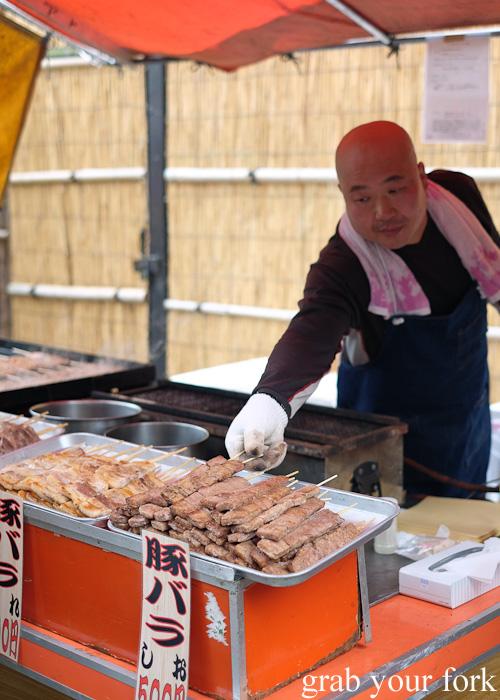 Street food skewers in Asakusa, Tokyo