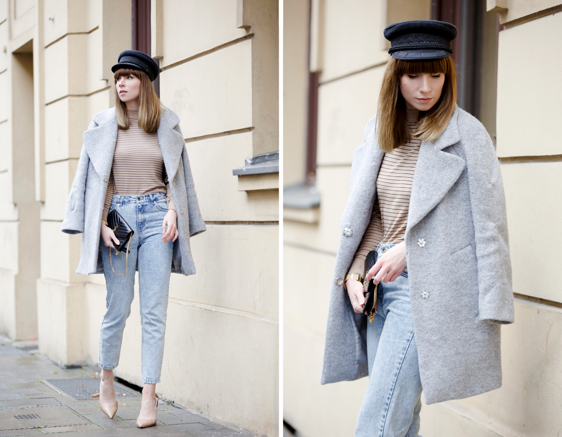 stripes denim 80s french hat parisian parisienne style stripe brown heels sam edelman ysl saint laurent paris coat chic bangs brunette modeblog cats & dogs blog ricarda schernus fashionblogger germany 6