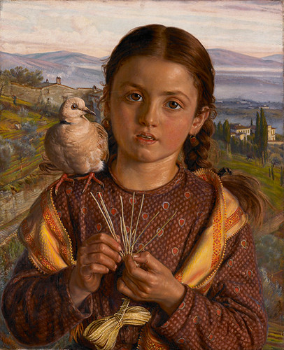 イタリア人の子ども(藁を編むトスカーナの少女)