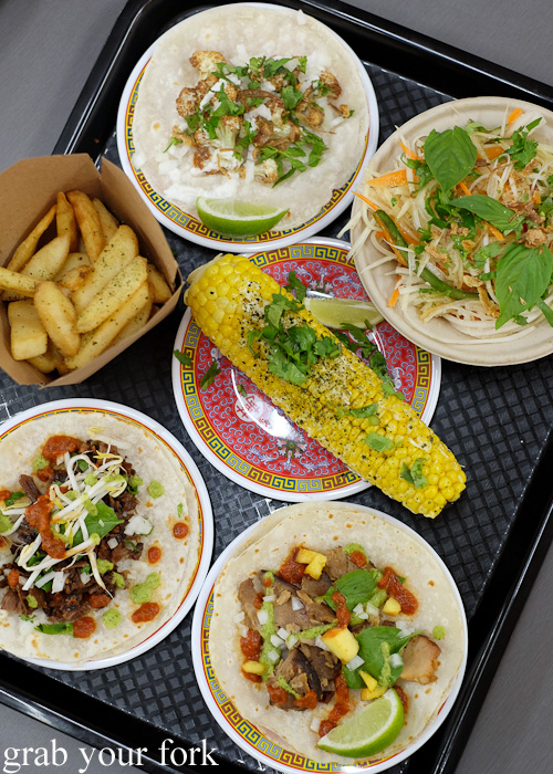 Asian tacos, corn and fries at Ghostboy Cantina in Dixon House Food Court, Sydney