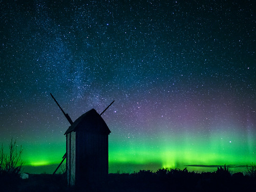 Northerns lights above an old windmill at Gotland